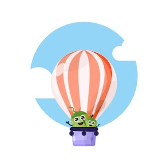 Mascote personagem fofinho de balão de ar quente de coco
