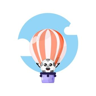 Mascote personagem fofinho de balão de ar quente de futebol