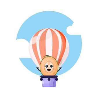 Mascote personagem fofinho de balão de ar quente de melão