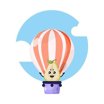 Mascote personagem fofinho de balão de ar quente de pêra
