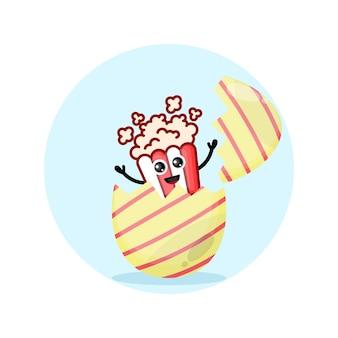 Mascote personagem fofinho de pipoca de ovo de páscoa