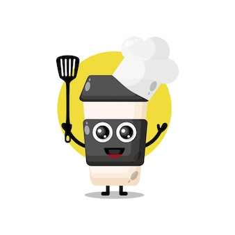 Mascote personagem fofinho do chef xícara de café de plástico