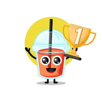 Mascote personagem fofinho troféu copo de suco de plástico