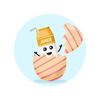 Mascote personagem fofo de suco de caixa de ovo de páscoa