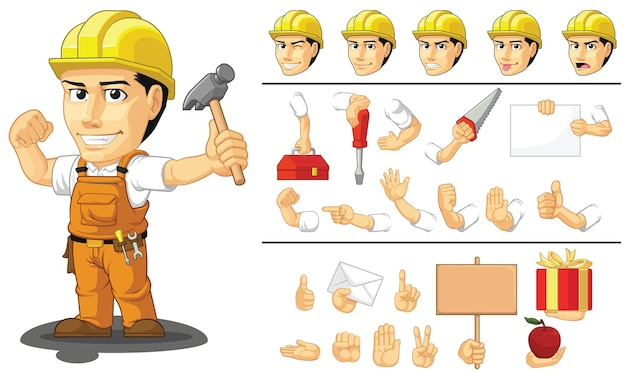 Mascote personalizável, trabalhador da construção civil, trabalhador