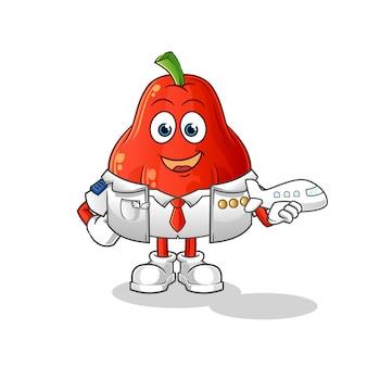 Mascote piloto de maçã d'água isolado no branco