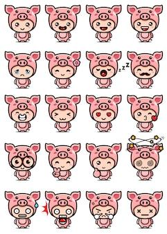 Mascote porco fofo cenografia
