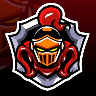 Mascote principal do cavaleiro. logotipo esport