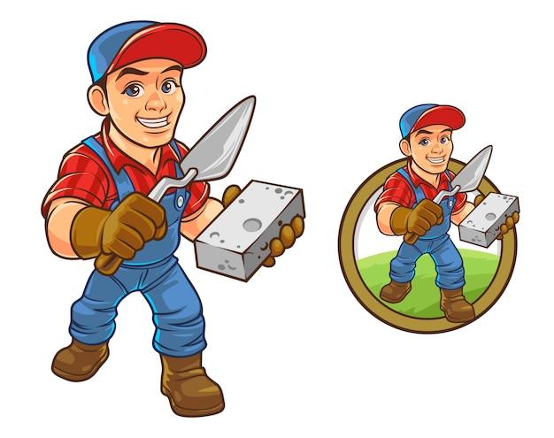 Mascote profissional de construtor de desenhos animados