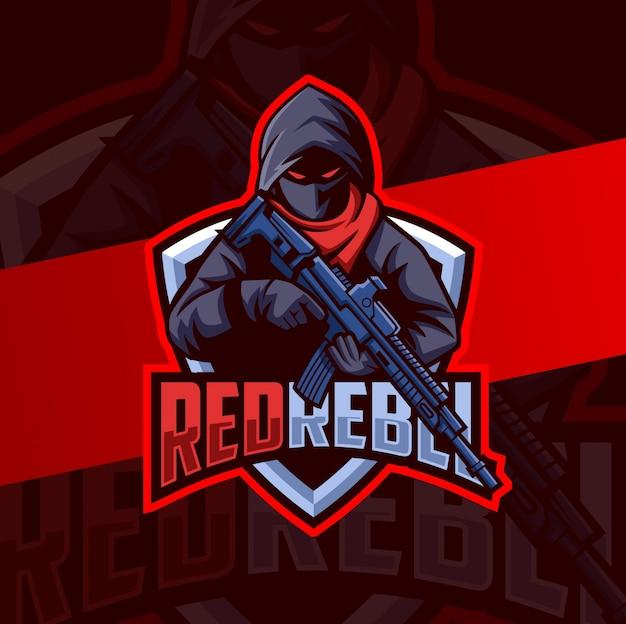 Mascote rebelde assassino com logotipo esport arma