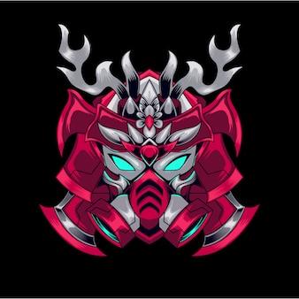 Mascote red gundam gaming logo e sport