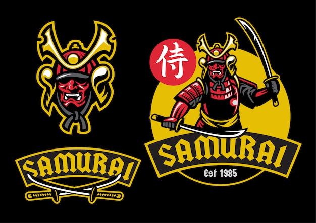 Mascote samurai ronin segurar o par de espada katana