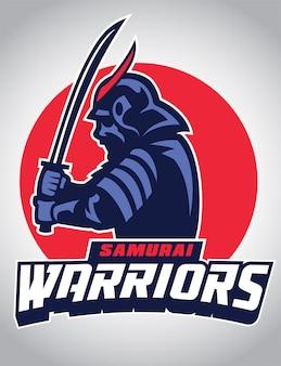 Mascote samurai segurar a espada