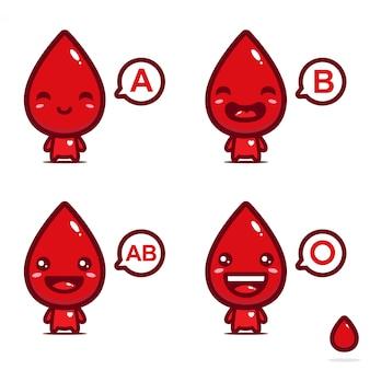 Mascote sanguíneo a, b, ab, o