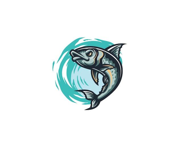 Mascote sardine fish jump