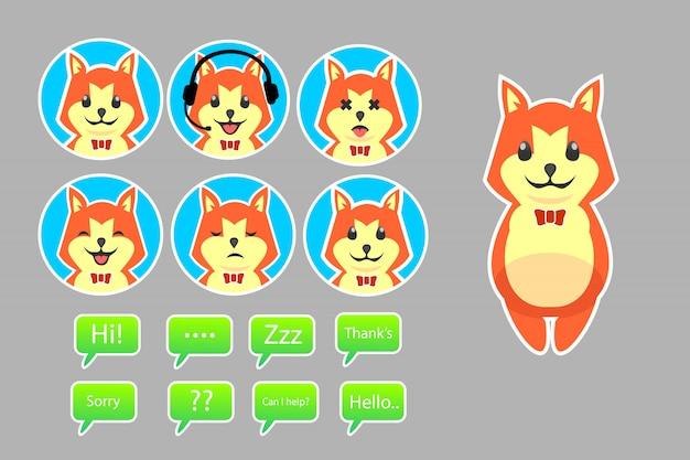 Mascote shiba inu assistente bot conjunto com caixas de diálogo