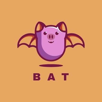 Mascote simples logo bat