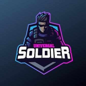 Mascote soldado universal para esportes e esports logo