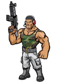 Mascote soldado zangado