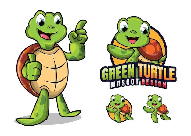 Mascote tartaruga verde