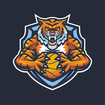 Mascote tiger esport logo para basquete
