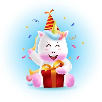 Mascote unicórnio comemorando festa