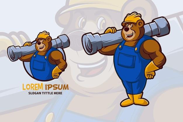 Mascote urso trabalhador da construção civil