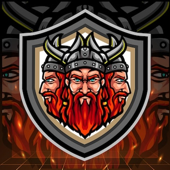 Mascote viking de cabeça tripla