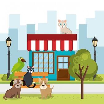 Mascotes bonitos e ícones de loja de animais