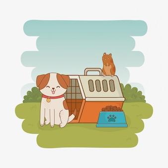 Mascotes de cachorrinho e cobaia