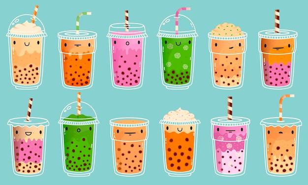 Mascotes de chá de bolhas. chá de leite com bolha fofa, leite matcha e chá verde com pérolas de tapioca