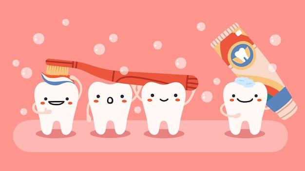 Mascotes de dentes felizes com escova e pasta de dentes
