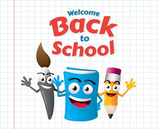 Mascotes de desenho animado da educação