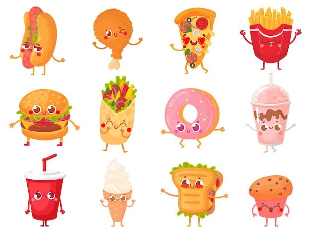 Mascotes de fast food dos desenhos animados. personagem de comida de rua, batatas fritas e conjunto de ilustração de mascote de pizza.