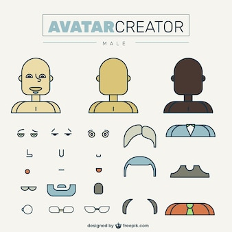 Masculino criador avatar em design plano
