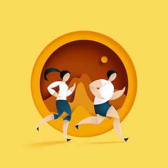 Masculino e feminino correndo na paisagem de montanha da natureza. maratona ou trilha executando a atividade esportiva. ilustração da arte em papel.