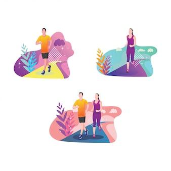 Masculino e feminino, executando o conjunto de esportes