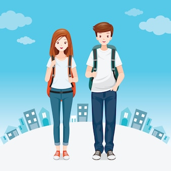 Masculino e feminino mochileiros viajante juntos