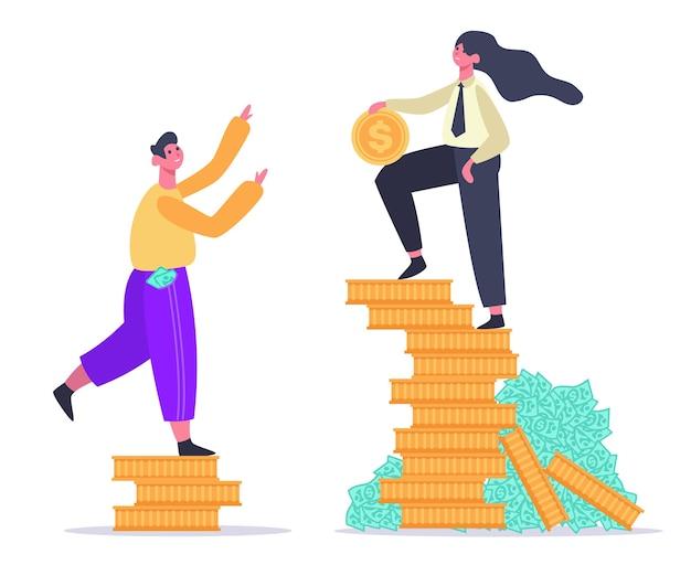 Masculino e feminino na pilha de dinheiro