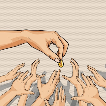 Masculino mão dando uma moeda de dinheiro para multidão