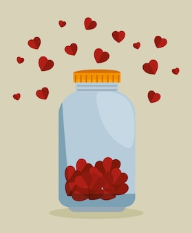 Mason jar com corações para doação de caridade