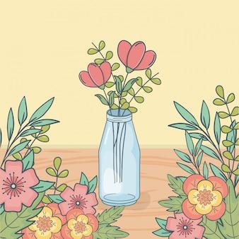 Mason jar com decoração floral no piso de madeira