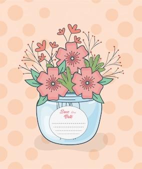 Mason jar com decorações florais e salvar data cartão