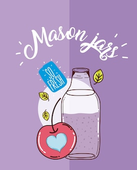 Mason jars juice fruit cartoon