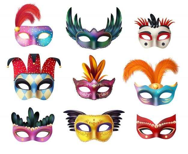 Masquerade carnival face masks set realista