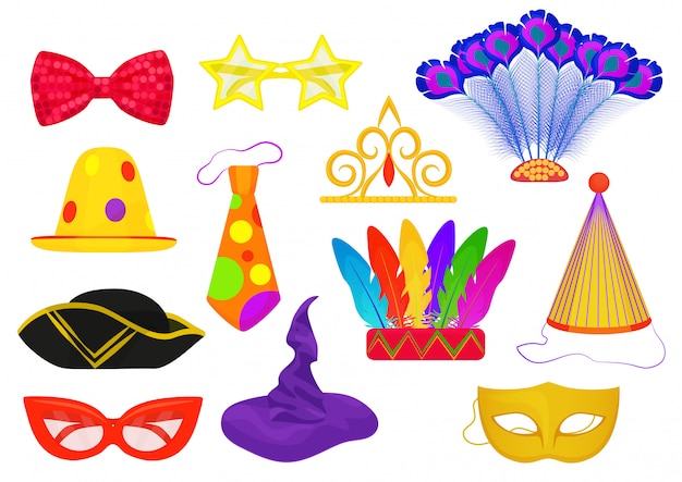 Masquerade carnival party icons