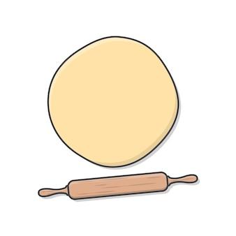 Massa de pão e rolo do rolo.