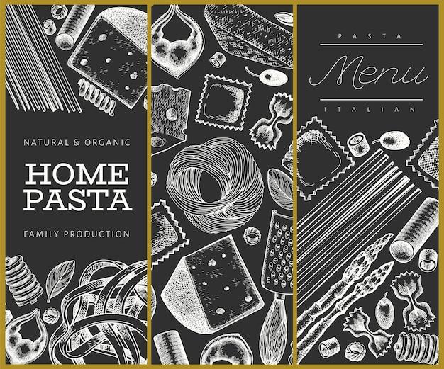 Massa italiana com modelo de adições. mão-extraídas ilustração de comida no quadro de giz. estilo gravado. fundo de diferentes tipos de massas vintage.