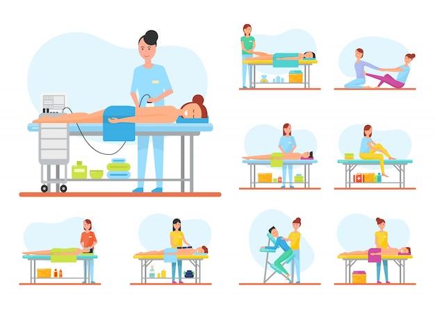 Massagem aparelho e voltar massageando set vector