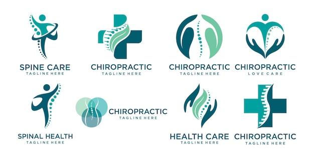Massagem quiroprática, dor nas costas e ícone de osteopatia definir modelo de design de logotipo